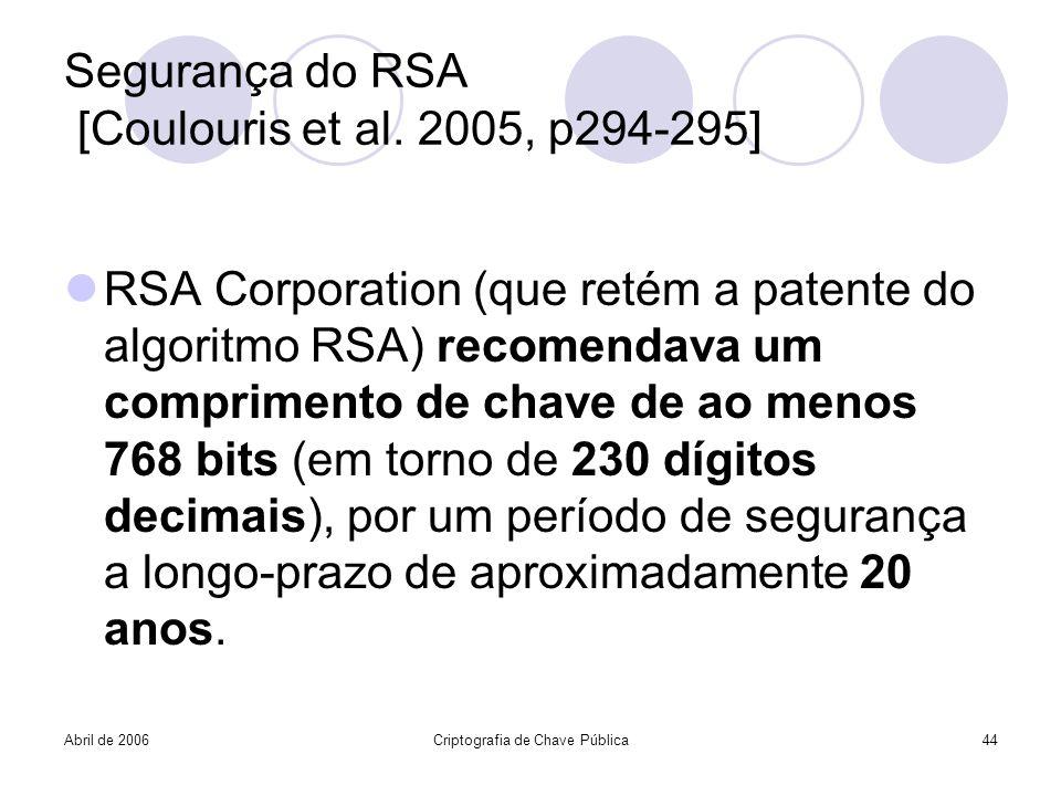 Abril de 2006Criptografia de Chave Pública44 Segurança do RSA [Coulouris et al. 2005, p294-295] RSA Corporation (que retém a patente do algoritmo RSA)