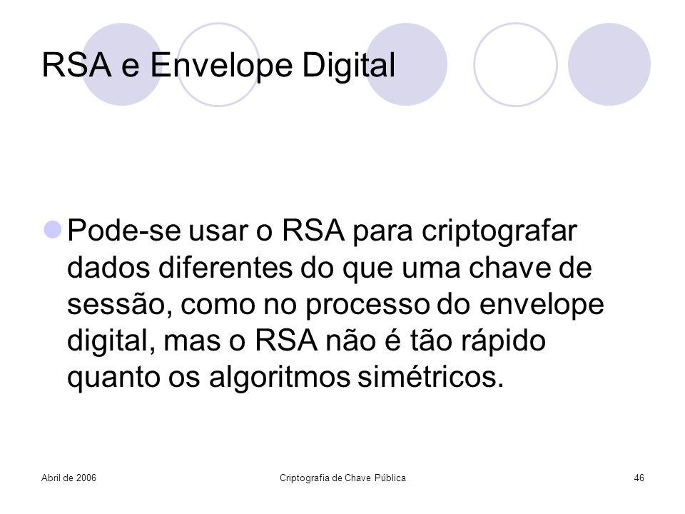 Abril de 2006Criptografia de Chave Pública46 RSA e Envelope Digital Pode-se usar o RSA para criptografar dados diferentes do que uma chave de sessão,