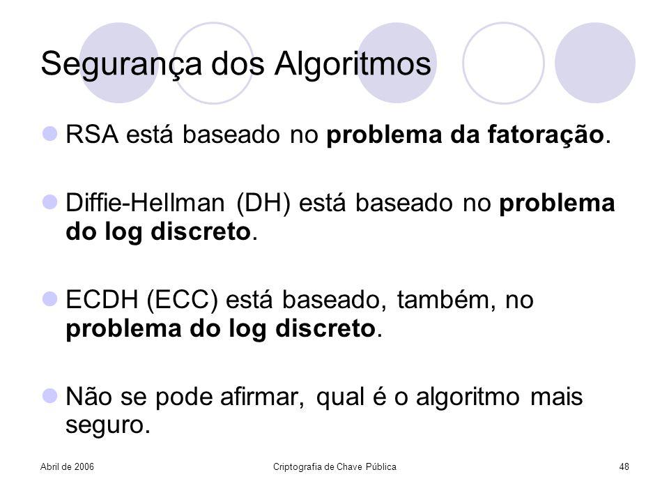 Abril de 2006Criptografia de Chave Pública48 Segurança dos Algoritmos RSA está baseado no problema da fatoração. Diffie-Hellman (DH) está baseado no p