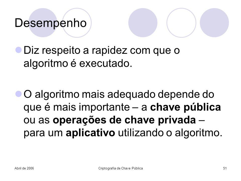 Abril de 2006Criptografia de Chave Pública51 Desempenho Diz respeito a rapidez com que o algoritmo é executado. O algoritmo mais adequado depende do q