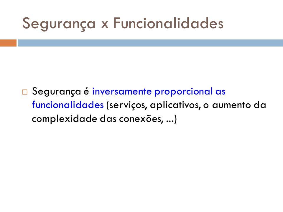 Segurança x Funcionalidades Segurança é inversamente proporcional as funcionalidades (serviços, aplicativos, o aumento da complexidade das conexões,..