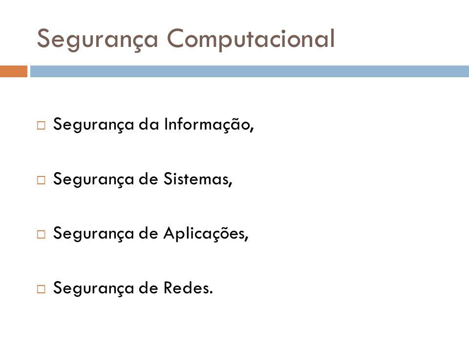 Segurança Computacional Segurança da Informação, Segurança de Sistemas, Segurança de Aplicações, Segurança de Redes.
