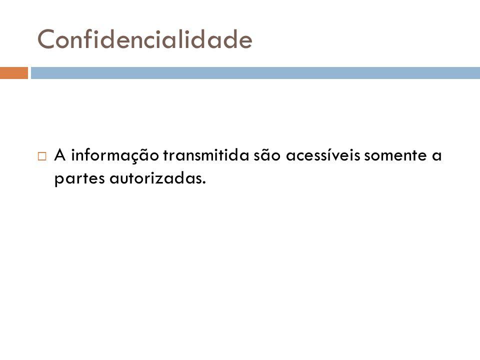 Confidencialidade A informação transmitida são acessíveis somente a partes autorizadas.