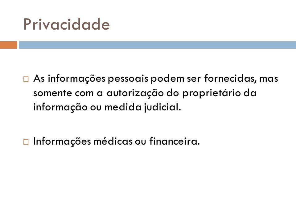 Privacidade As informações pessoais podem ser fornecidas, mas somente com a autorização do proprietário da informação ou medida judicial. Informações
