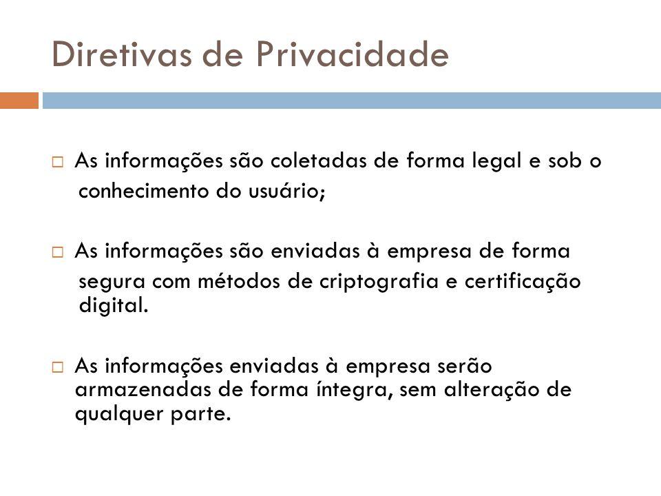 Diretivas de Privacidade As informações são coletadas de forma legal e sob o conhecimento do usuário; As informações são enviadas à empresa de forma s