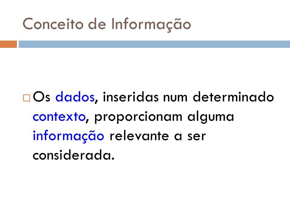 Conceito de Informação Os dados, inseridas num determinado contexto, proporcionam alguma informação relevante a ser considerada.
