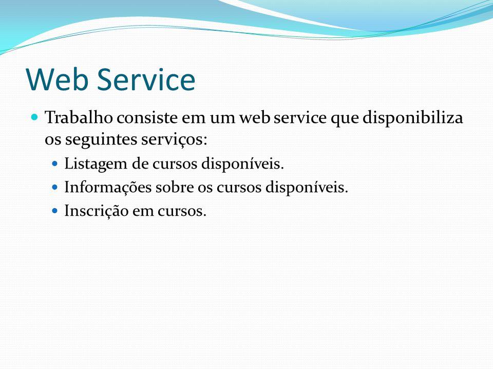 Web Service Trabalho consiste em um web service que disponibiliza os seguintes serviços: Listagem de cursos disponíveis. Informações sobre os cursos d