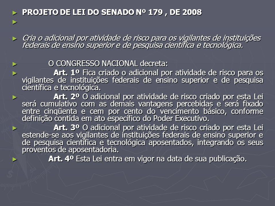 PROJETO DE LEI DO SENADO Nº 179, DE 2008 PROJETO DE LEI DO SENADO Nº 179, DE 2008 Cria o adicional por atividade de risco para os vigilantes de instit