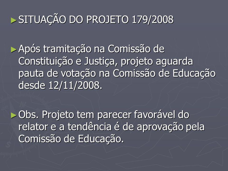 SITUAÇÃO DO PROJETO 179/2008 SITUAÇÃO DO PROJETO 179/2008 Após tramitação na Comissão de Constituição e Justiça, projeto aguarda pauta de votação na C