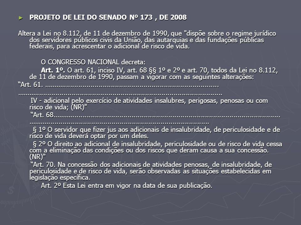 PROJETO DE LEI DO SENADO Nº 173, DE 2008 PROJETO DE LEI DO SENADO Nº 173, DE 2008 Altera a Lei no 8.112, de 11 de dezembro de 1990, que