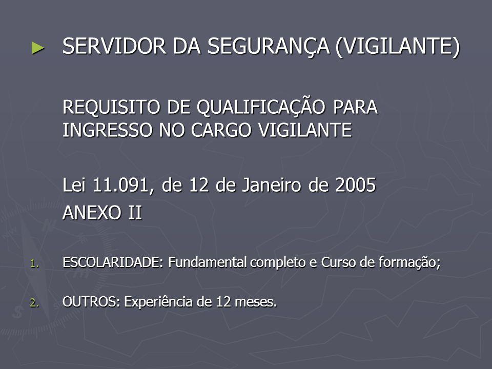 SERVIDOR DA SEGURANÇA (VIGILANTE) SERVIDOR DA SEGURANÇA (VIGILANTE) REQUISITO DE QUALIFICAÇÃO PARA INGRESSO NO CARGO VIGILANTE Lei 11.091, de 12 de Ja