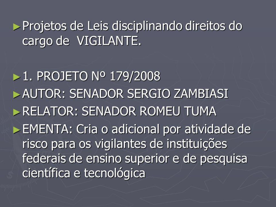 Projetos de Leis disciplinando direitos do cargo de VIGILANTE. Projetos de Leis disciplinando direitos do cargo de VIGILANTE. 1. PROJETO Nº 179/2008 1