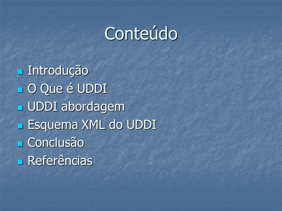 Conteúdo Introdução Introdução O Que é UDDI O Que é UDDI UDDI abordagem UDDI abordagem Esquema XML do UDDI Esquema XML do UDDI Conclusão Conclusão Referências Referências