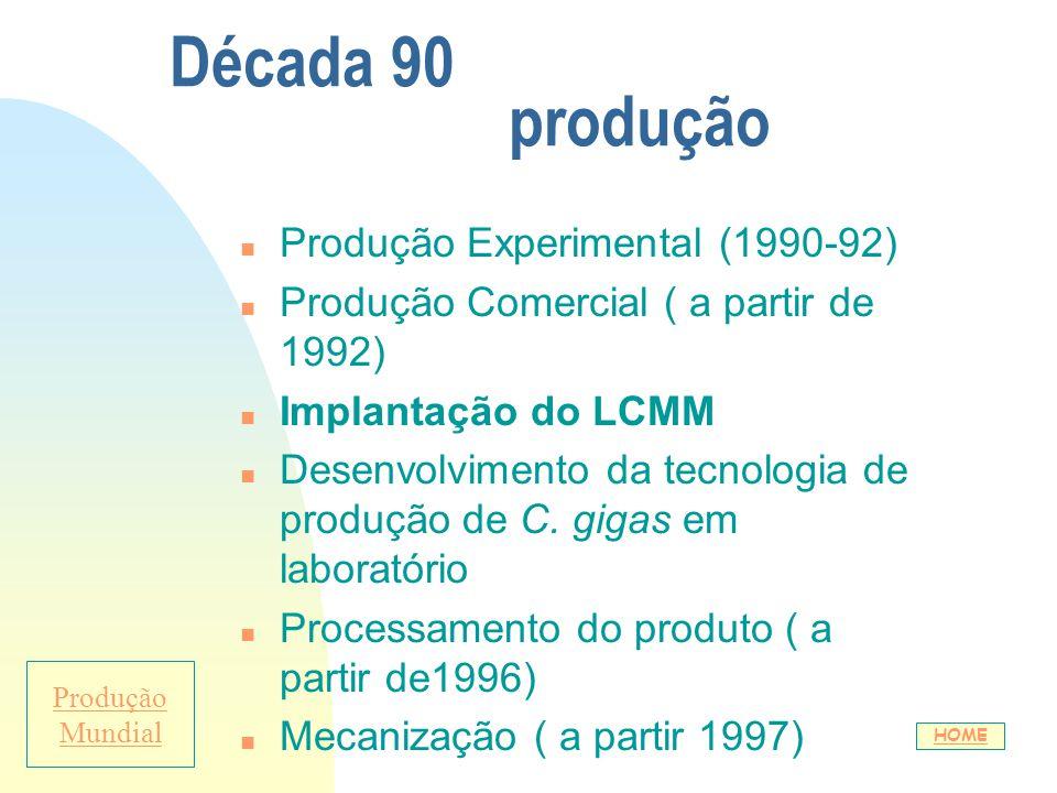 Década 90 produção n Produção Experimental (1990-92) n Produção Comercial ( a partir de 1992) n Implantação do LCMM n Desenvolvimento da tecnologia de