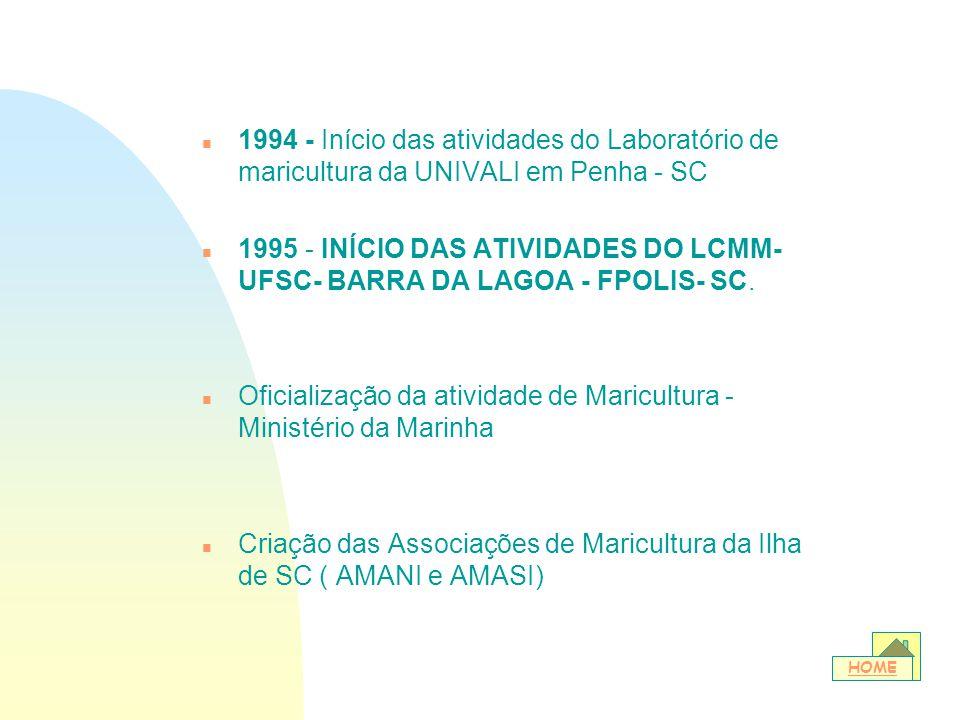 n 1994 - Início das atividades do Laboratório de maricultura da UNIVALI em Penha - SC n 1995 - INÍCIO DAS ATIVIDADES DO LCMM- UFSC- BARRA DA LAGOA - F