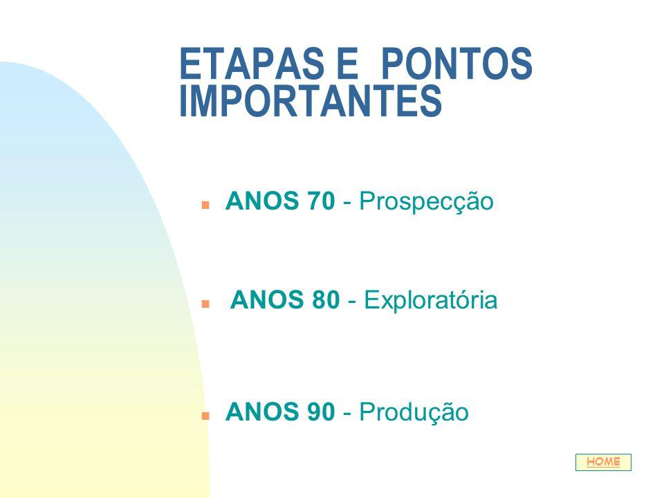 ETAPAS E PONTOS IMPORTANTES n ANOS 70 - Prospecção n ANOS 80 - Exploratória n ANOS 90 - Produção HOME