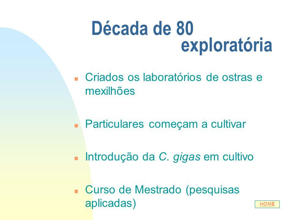 Década de 80 exploratória n Criados os laboratórios de ostras e mexilhões n Particulares começam a cultivar n Introdução da C. gigas em cultivo n Curs