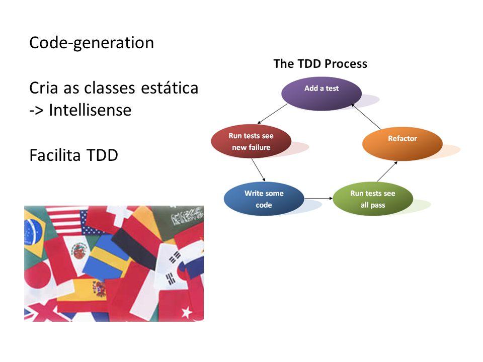 Code-generation Cria as classes estática -> Intellisense Facilita TDD