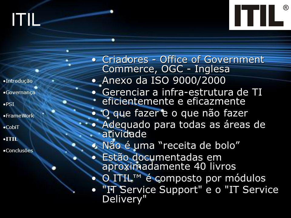 ITIL Criadores - Office of Government Commerce, OGC - InglesaCriadores - Office of Government Commerce, OGC - Inglesa Anexo da ISO 9000/2000Anexo da I