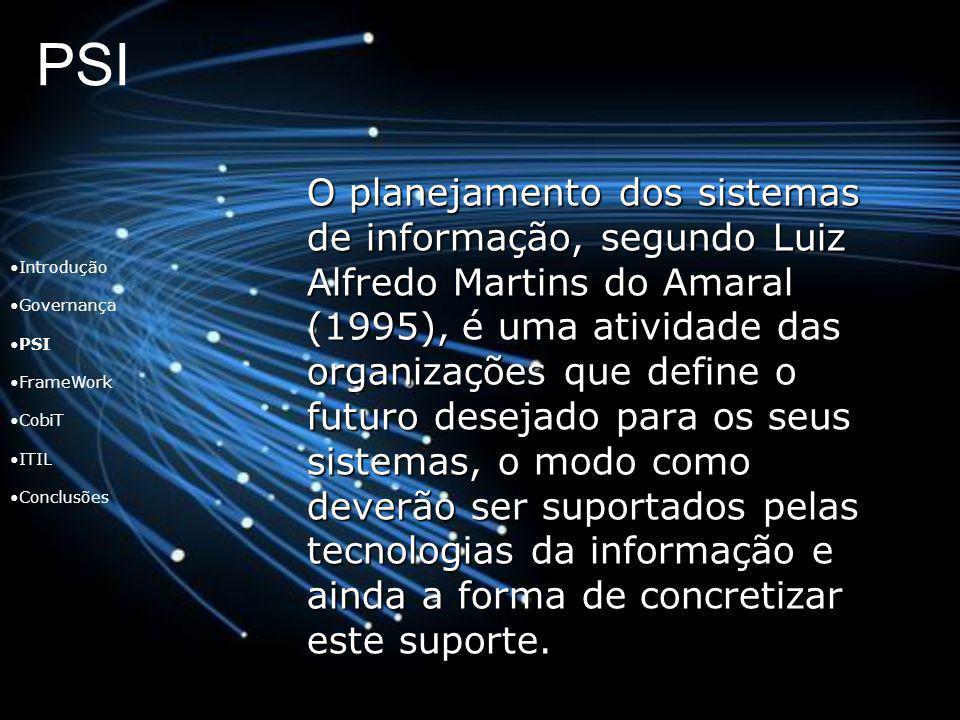 PSI Introdução Governança PSI FrameWork CobiT ITIL Conclusões O planejamento dos sistemas de informação, segundo Luiz Alfredo Martins do Amaral (1995)