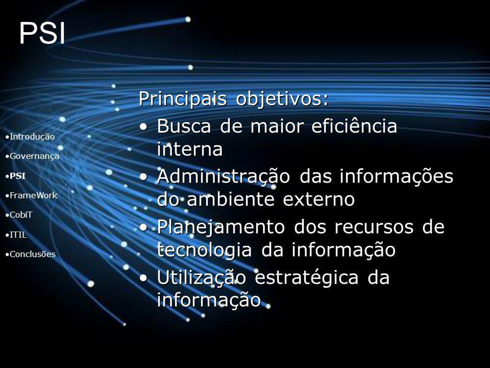 PSI Introdução Governança PSI FrameWork CobiT ITIL Conclusões Principais objetivos: Busca de maior eficiência internaBusca de maior eficiência interna