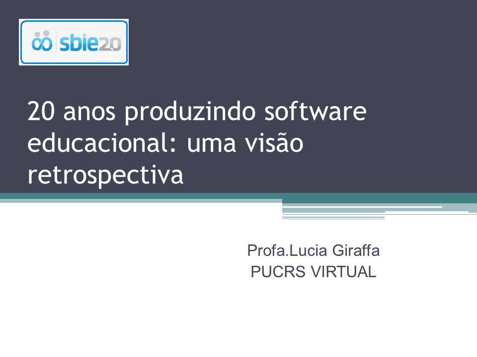 20 anos produzindo software educacional: uma visão retrospectiva Profa.Lucia Giraffa PUCRS VIRTUAL