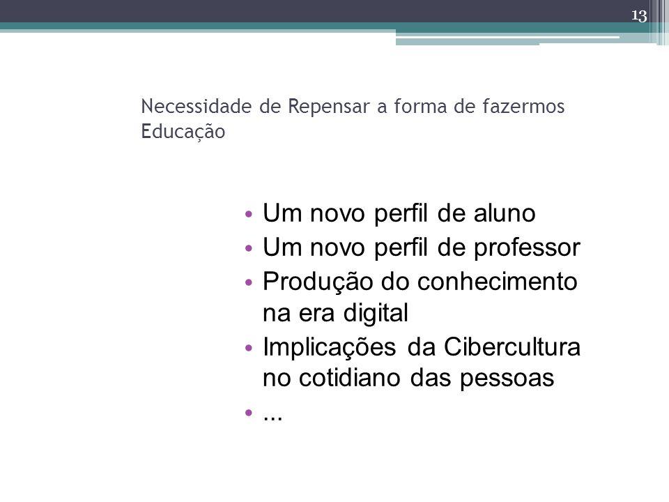 Necessidade de Repensar a forma de fazermos Educação 13 Um novo perfil de aluno Um novo perfil de professor Produção do conhecimento na era digital Im