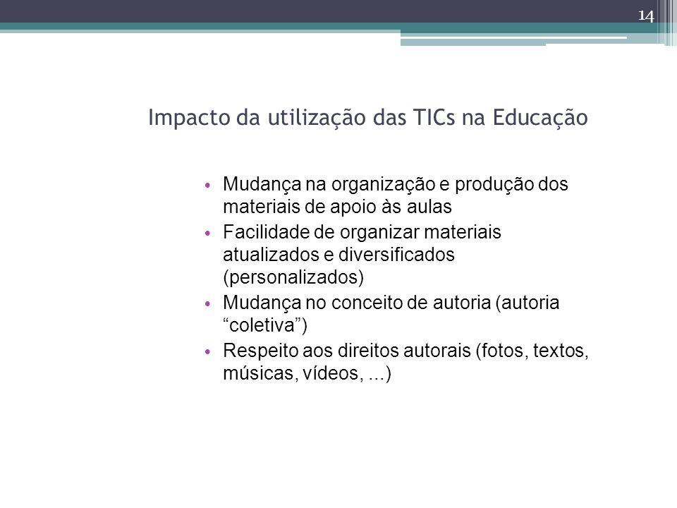 Impacto da utilização das TICs na Educação 14 Mudança na organização e produção dos materiais de apoio às aulas Facilidade de organizar materiais atua