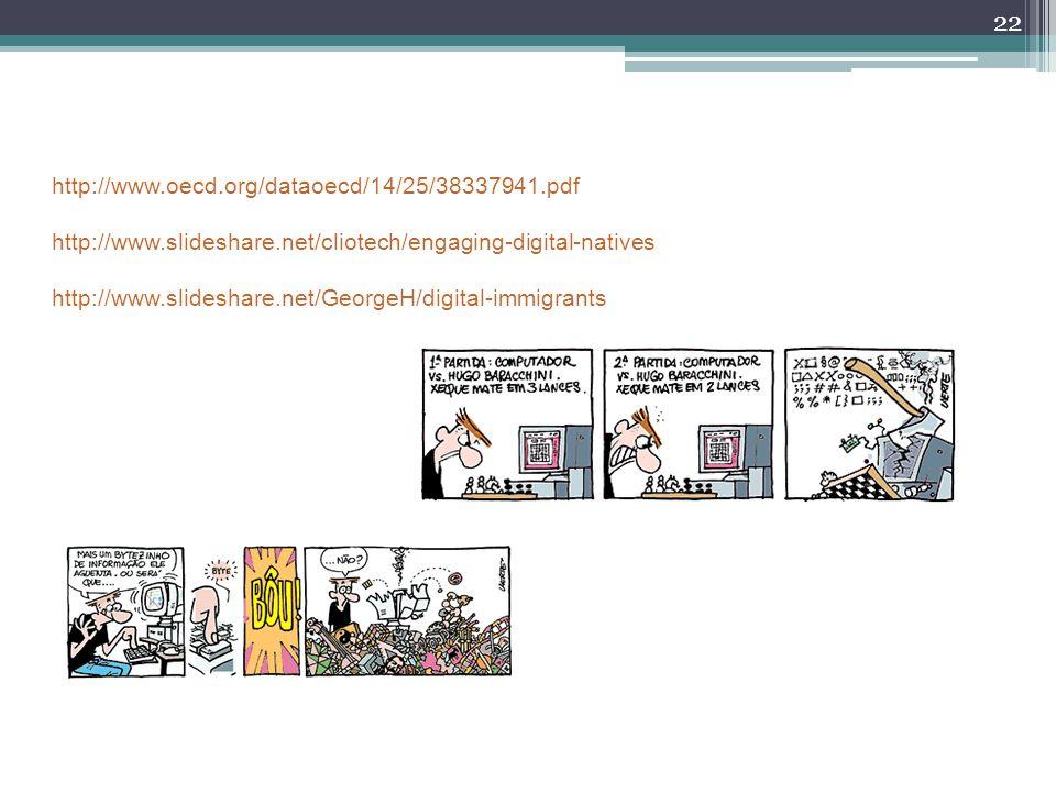 22 http://www.oecd.org/dataoecd/14/25/38337941.pdf http://www.slideshare.net/cliotech/engaging-digital-natives http://www.slideshare.net/GeorgeH/digit