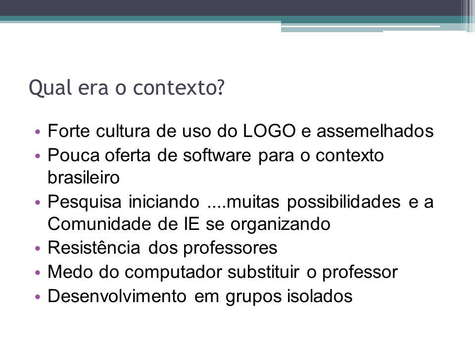 Qual era o contexto? Forte cultura de uso do LOGO e assemelhados Pouca oferta de software para o contexto brasileiro Pesquisa iniciando....muitas poss