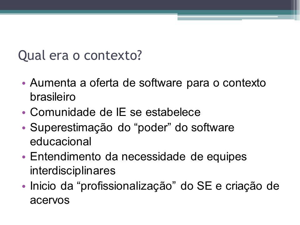 Qual era o contexto? Aumenta a oferta de software para o contexto brasileiro Comunidade de IE se estabelece Superestimação do poder do software educac