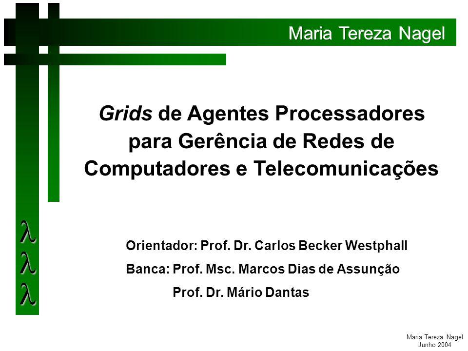 Maria Tereza Nagel Junho 2004 Assunção, Koch e Westphall propuseram utilizando grids de agentes, uma arquitetura para o gerenciamento de redes, com maior extensibilidade e adaptabilidade que os modelos centralizados.