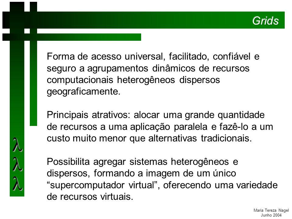 Maria Tereza Nagel Junho 2004 Forma de acesso universal, facilitado, confiável e seguro a agrupamentos dinâmicos de recursos computacionais heterogêneos dispersos geograficamente.