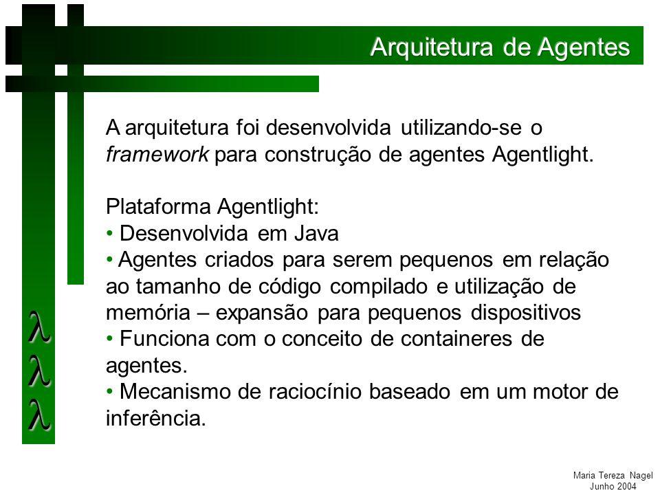 Maria Tereza Nagel Junho 2004 A arquitetura foi desenvolvida utilizando-se o framework para construção de agentes Agentlight.