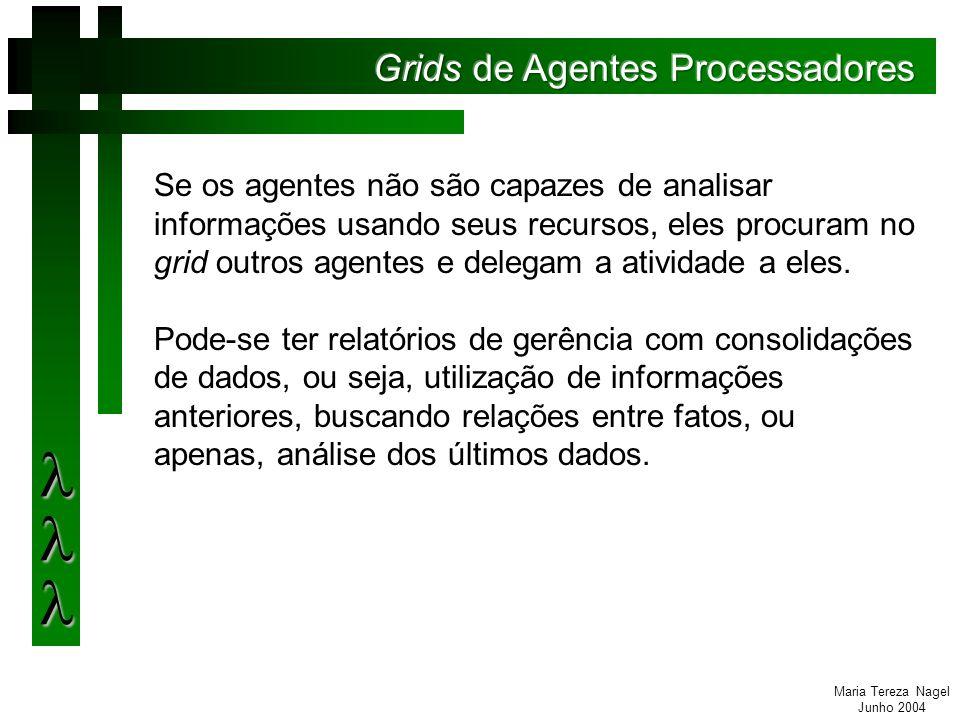 Maria Tereza Nagel Junho 2004 Se os agentes não são capazes de analisar informações usando seus recursos, eles procuram no grid outros agentes e delegam a atividade a eles.