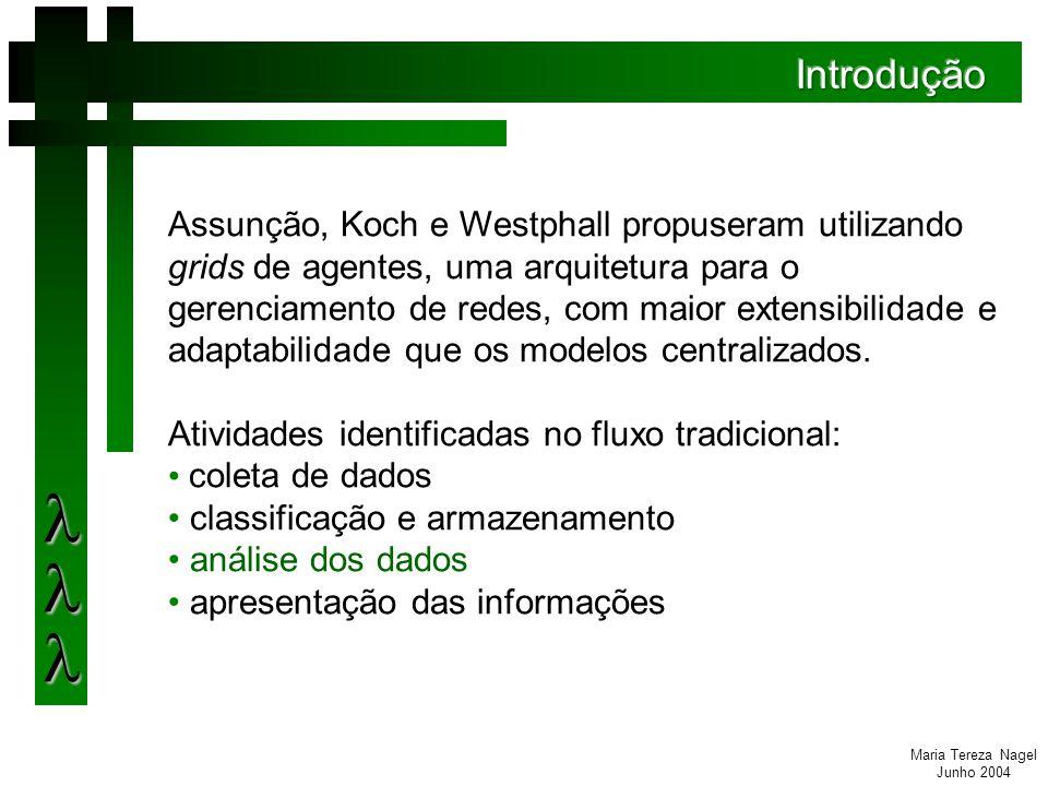 Maria Tereza Nagel Junho 2004 Desenvolvimento de novas regras de análise Aplicação das regras em redes maiores, envolvendo múltiplos domínios administrativos Aplicação em redes sem fio.