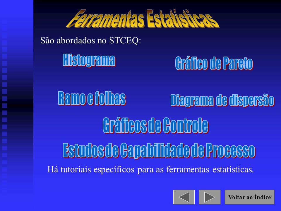 São abordados no STCEQ: Há tutoriais específicos para as ferramentas estatísticas. Voltar ao Índice