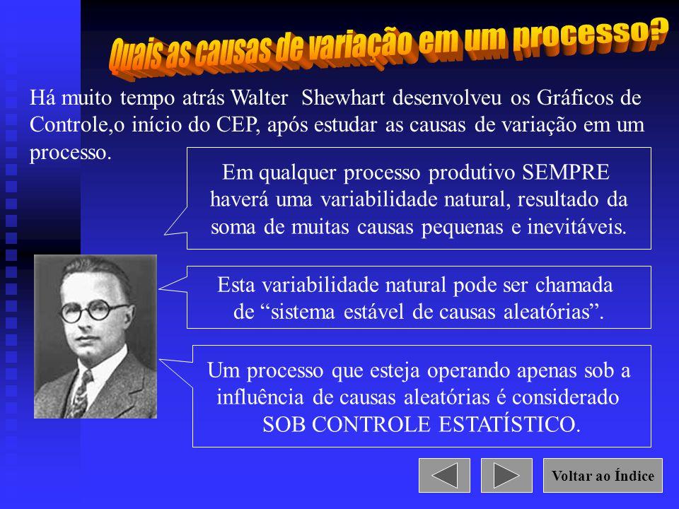 Há muito tempo atrás Walter Shewhart desenvolveu os Gráficos de Controle,o início do CEP, após estudar as causas de variação em um processo. Em qualqu