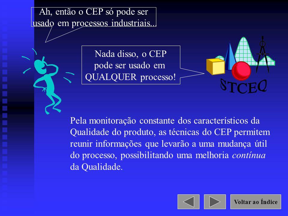 Ah, então o CEP só pode ser usado em processos industriais... Nada disso, o CEP pode ser usado em QUALQUER processo! Pela monitoração constante dos ca
