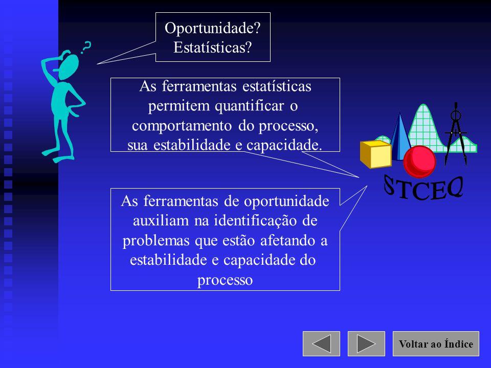 Oportunidade? Estatísticas? As ferramentas estatísticas permitem quantificar o comportamento do processo, sua estabilidade e capacidade. As ferramenta