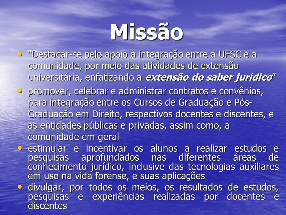 Missão Missão Destacar-se pelo apoio à integração entre a UFSC e a comunidade, por meio das atividades de extensão universitária, enfatizando a extens