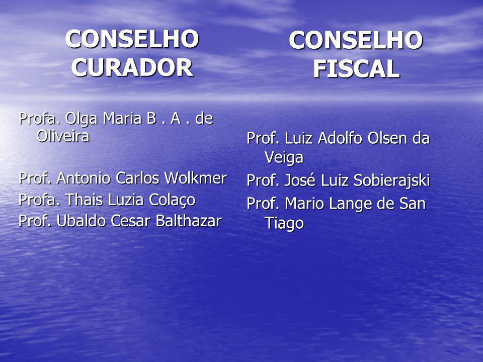 CONSELHO CURADOR Profa. Olga Maria B. A. de Oliveira Prof. Antonio Carlos Wolkmer Profa. Thais Luzia Colaço Prof. Ubaldo Cesar Balthazar CONSELHO FISC