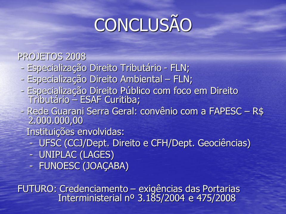 CONCLUSÃO PROJETOS 2008 - Especialização Direito Tributário - FLN; - Especialização Direito Tributário - FLN; - Especialização Direito Ambiental – FLN