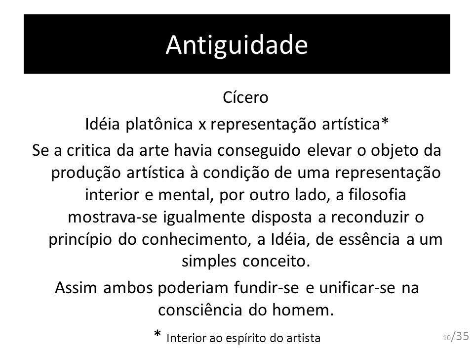 Antiguidade Cícero Idéia platônica x representação artística* Se a critica da arte havia conseguido elevar o objeto da produção artística à condição d