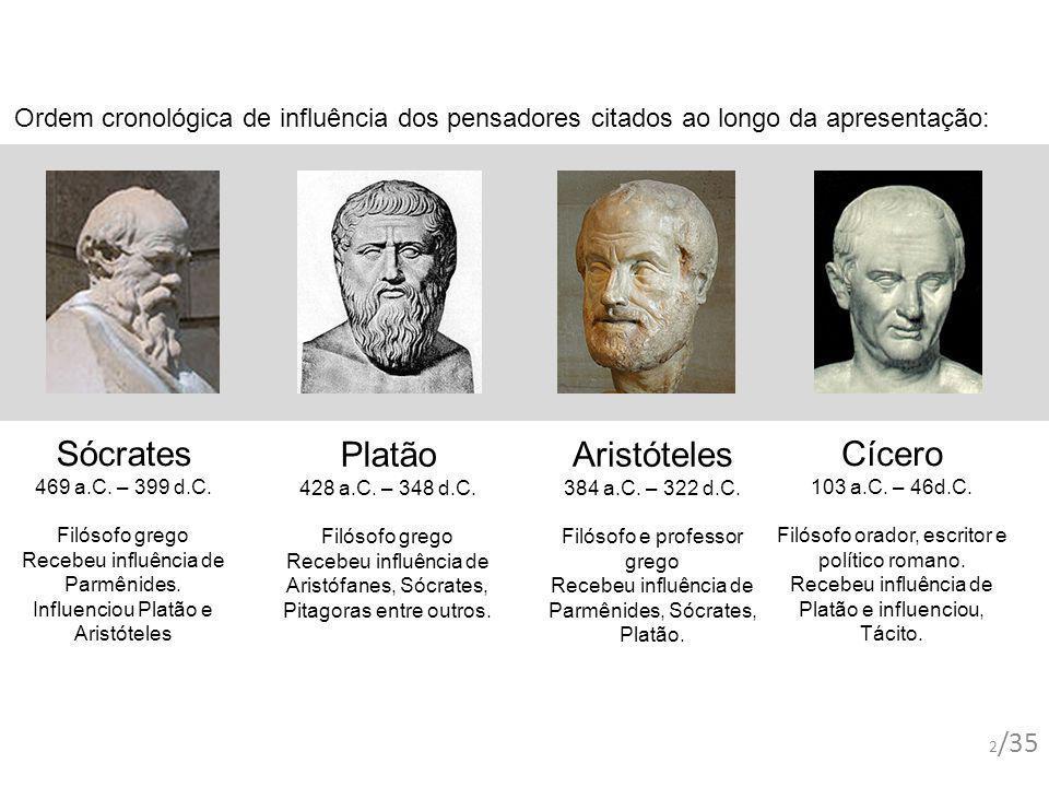 Platão 428 a.C. – 348 d.C. Filósofo grego Recebeu influência de Aristófanes, Sócrates, Pitagoras entre outros. Sócrates 469 a.C. – 399 d.C. Filósofo g