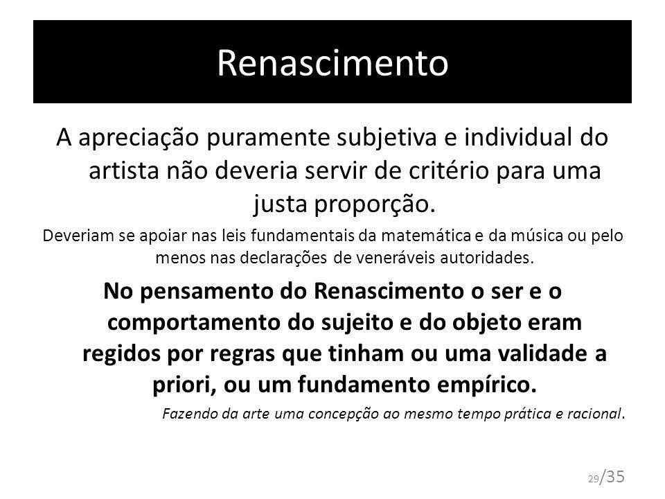 29 /35 Renascimento A apreciação puramente subjetiva e individual do artista não deveria servir de critério para uma justa proporção. Deveriam se apoi