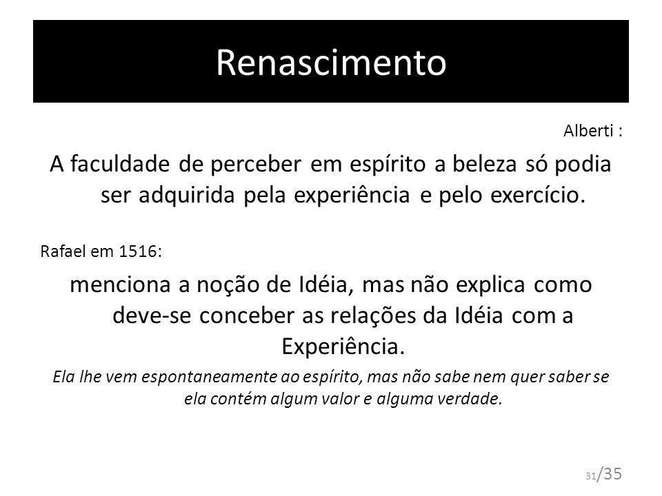 31 /35 Renascimento Alberti : A faculdade de perceber em espírito a beleza só podia ser adquirida pela experiência e pelo exercício. Rafael em 1516: m