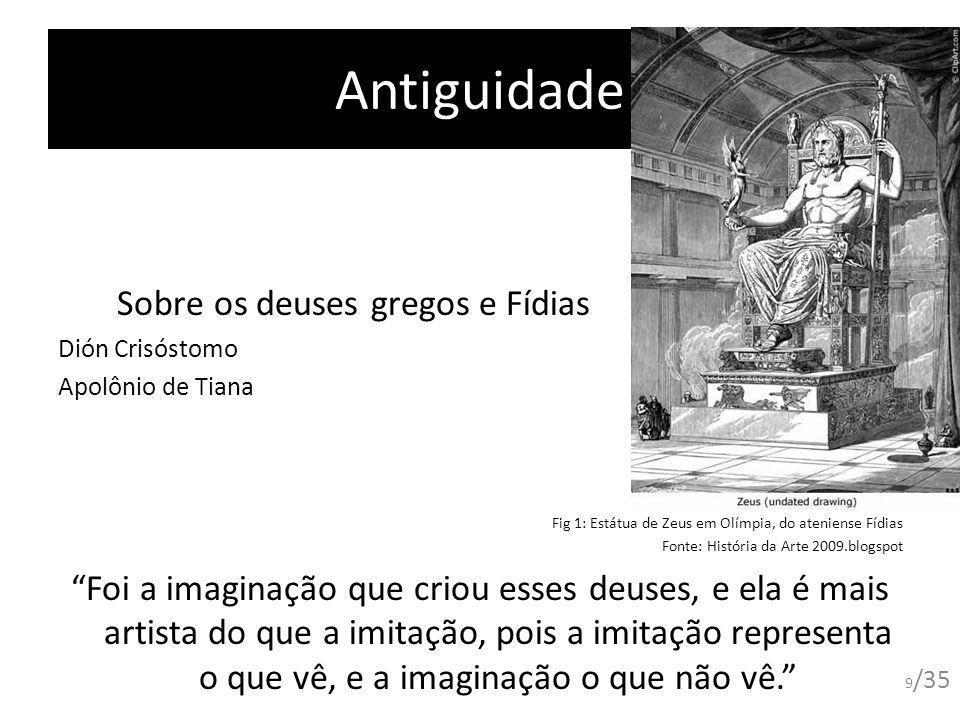 Antiguidade Sobre os deuses gregos e Fídias Dión Crisóstomo Apolônio de Tiana Fig 1: Estátua de Zeus em Olímpia, do ateniense Fídias Fonte: História d
