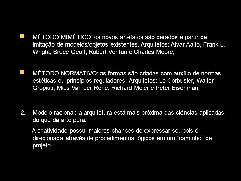 MÉTODO MIMÉTICO: os novos artefatos são gerados a partir da imitação de modelos/objetos existentes.