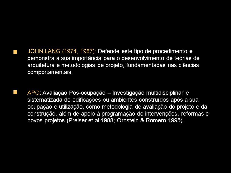 JOHN LANG (1974, 1987): Defende este tipo de procedimento e demonstra a sua importância para o desenvolvimento de teorias de arquitetura e metodologias de projeto, fundamentadas nas ciências comportamentais.